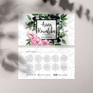 karty rabatowe dla stylistki rzęs marmur i kwiaty