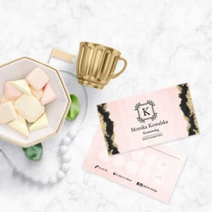 karty rabatowe do gabinetu kosmetycznego różowe i logo art deco