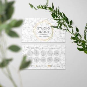 karty rabatowe do gabinetu medycyny estetycznej marmur i złote logo