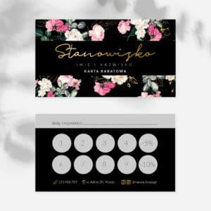 karty rabatowe do gabinetu urody róże i złote logo