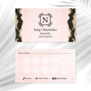 karty rabatowe do salonu kosmetycznego logo art deco
