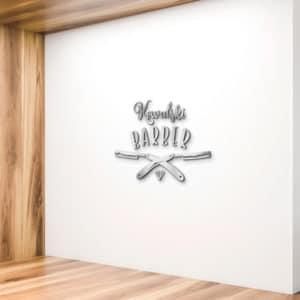 logotyp z plexi na ścianę dla barbera
