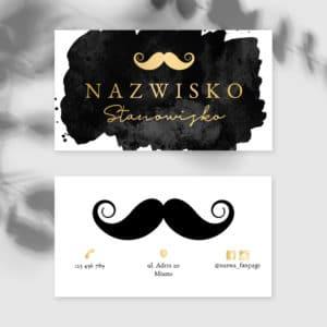 wizytówki dla Barberów złote wąsy