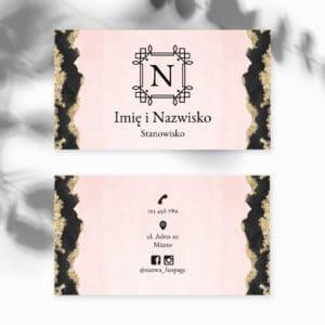 wizytówka dla podologa różowo-czarna