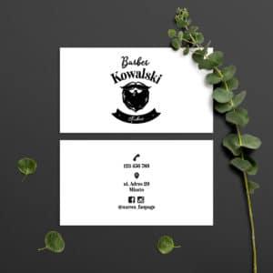 wizytówka do salonu barberskiego czarno-białe