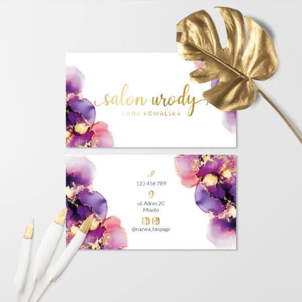 wizytówki dla fryzjerski złote logo