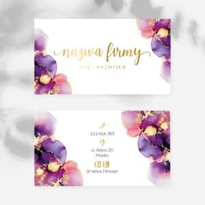 wizytówki dla kosmetyczki fioletowe plamy