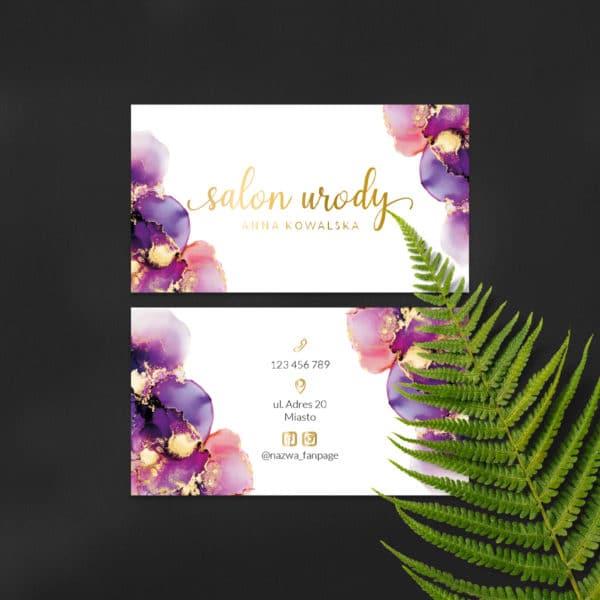 wizytówki dla makeup artist złote logo