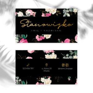 wizytówki do gabinetu kosmetycznego złote logo i kwiaty