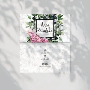 wizytówki do gabinetu urody kwiaty