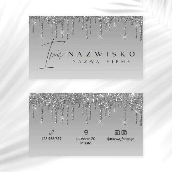 wizytówki do salonu kosmetycznego w srebrnym kolorze