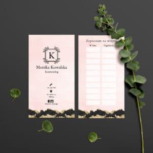 wizytówki następna wizyta do gabinetu urody brudno różowe