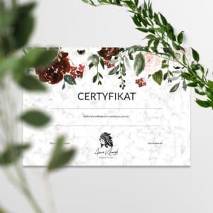 certyfikaty na warsztaty w stylu boho