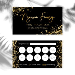 karty rabatowe do salonu kosmetycznego złote logo