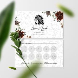 karty rabatowe dla wizażystki z kwiatami
