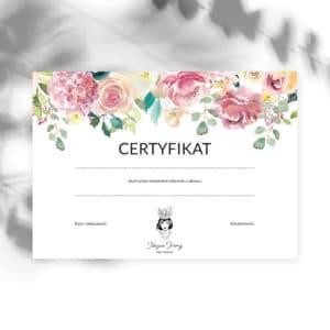 kwiatowe certyfikaty ukończenia szkolenia w stylu boho