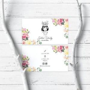 wizytówki dla wizażystki kwiatowe