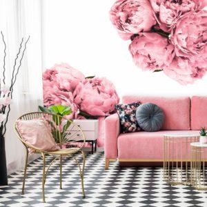 fototapeta-do-studia-urody z różowymi kwiatuszkami