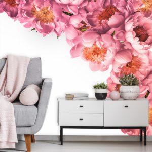 fototapeta-dla-stylistki-paznokci z różowymi kwiatkami