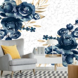 fototapety-dla-wizazystki z granatowymi kwiatkami