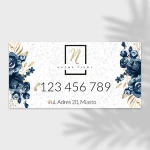 baner reklamowy do salonu urody w granatowe kwiaty