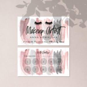 Karty rabatowe dla kosmetyczki różowe smugi