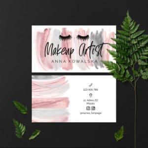 wizytówki dla makeup artist z czarnymi rzęsami