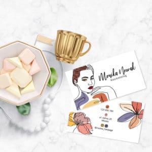 wizytówka dla kosmetyczki kolorowe kwiaty