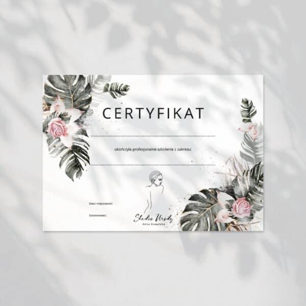 tropikalne certyfikaty na szkolenia
