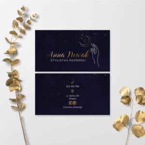 granatowe wizytówki i złote logo