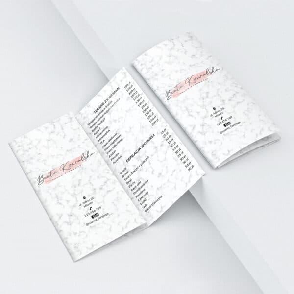 broszura z cennikiem do salonu urody