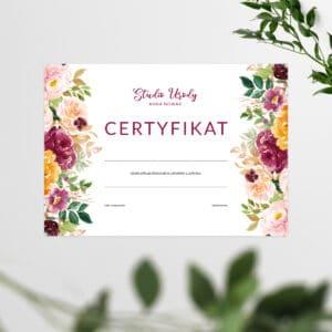 certyfikat ukńczenia szkolenia dla stylistki rzęs