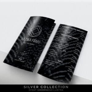 srebrne ulotki składane do salonu kosmetycznego