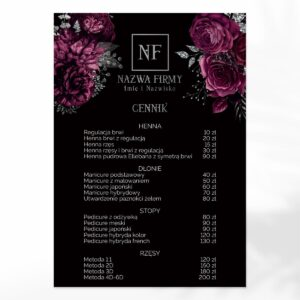 Plakat z cennikiem dla kosmetyczki