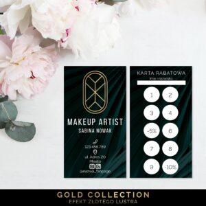 Karty rabatowe ze złoceniem dla makijażystki