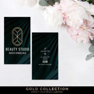 Złocone wizytówki dla mobilnej stylistki
