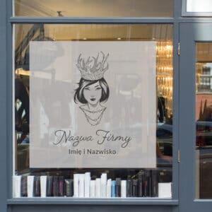 naklejka z logo do salonu piękności