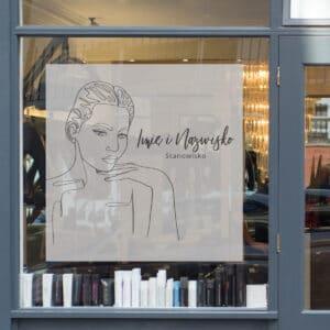 naklejka na okno do salonu fryzjerskiego