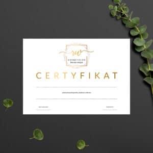 certyfikat na szkolenia dla kosmetyczki