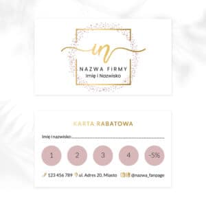 karty rabatowe ze złotym logo